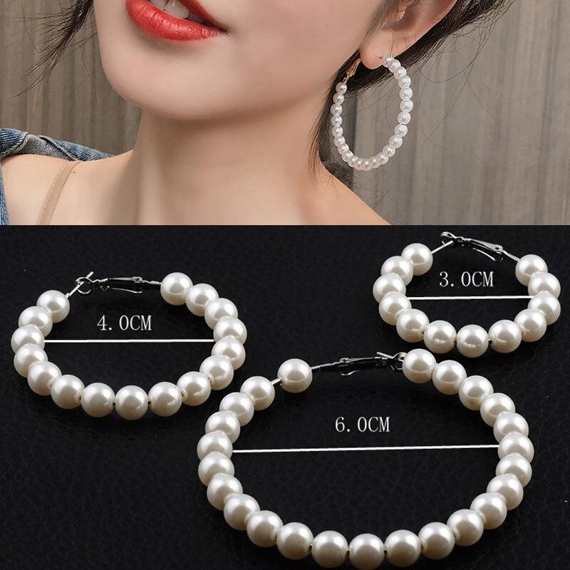 1 Pair Elegant White Pearls Statement Earrings Women Oversize Pearl Circle Ear Rings Earrings Gift Accessories Wholesale(China)