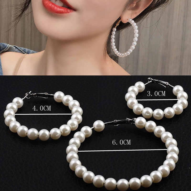 1 paar Elegante Weiße Perlen Aussage Ohrringe Frauen Oversize Perle Kreis Ohr Ringe Ohrringe Geschenk Zubehör Großhandel