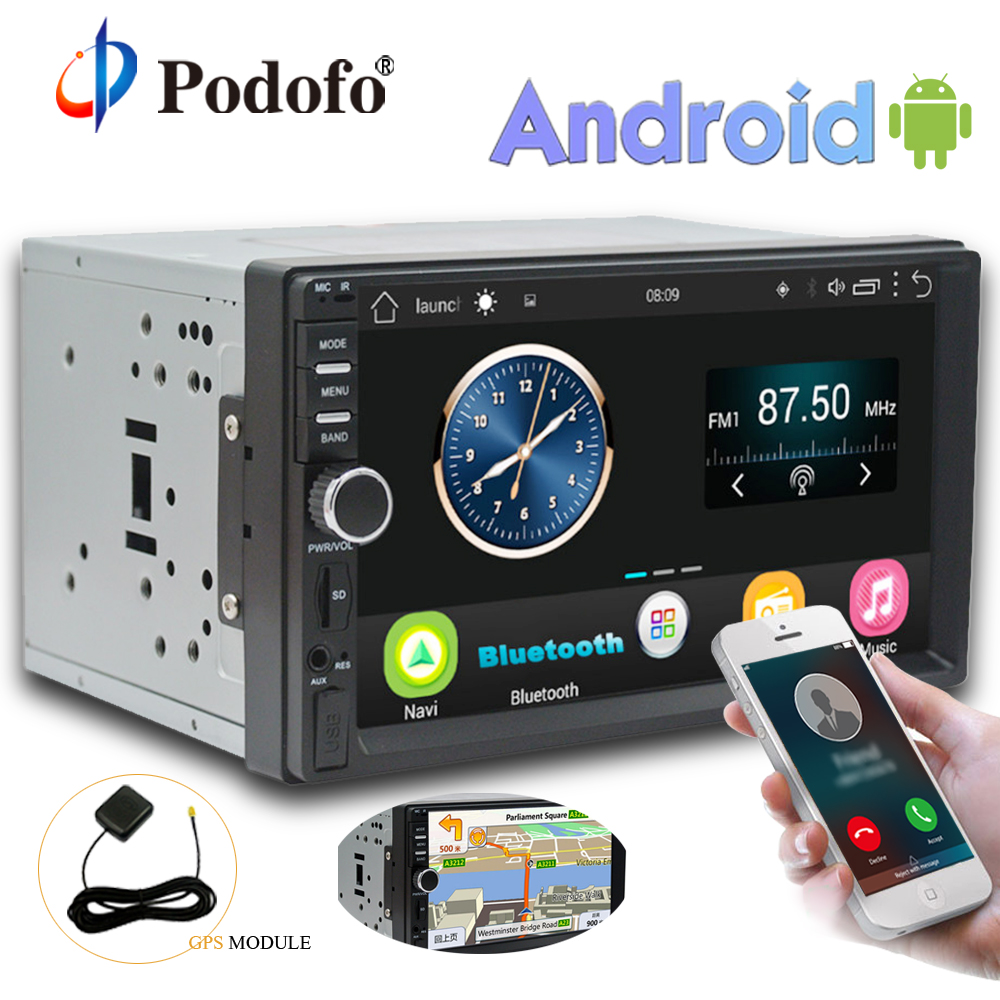 Podofo 2 Din Android Car Radio Stereo 7''Touch Screen GPS Navigation Audio Media Player Autoradio Wifi Bluetooth FM Radio No DVD android 6 0 7 double 2din head unit touch screen car radio stereo no dvd gps obd 3g 4g wifi car stereo autoradio gps navigation