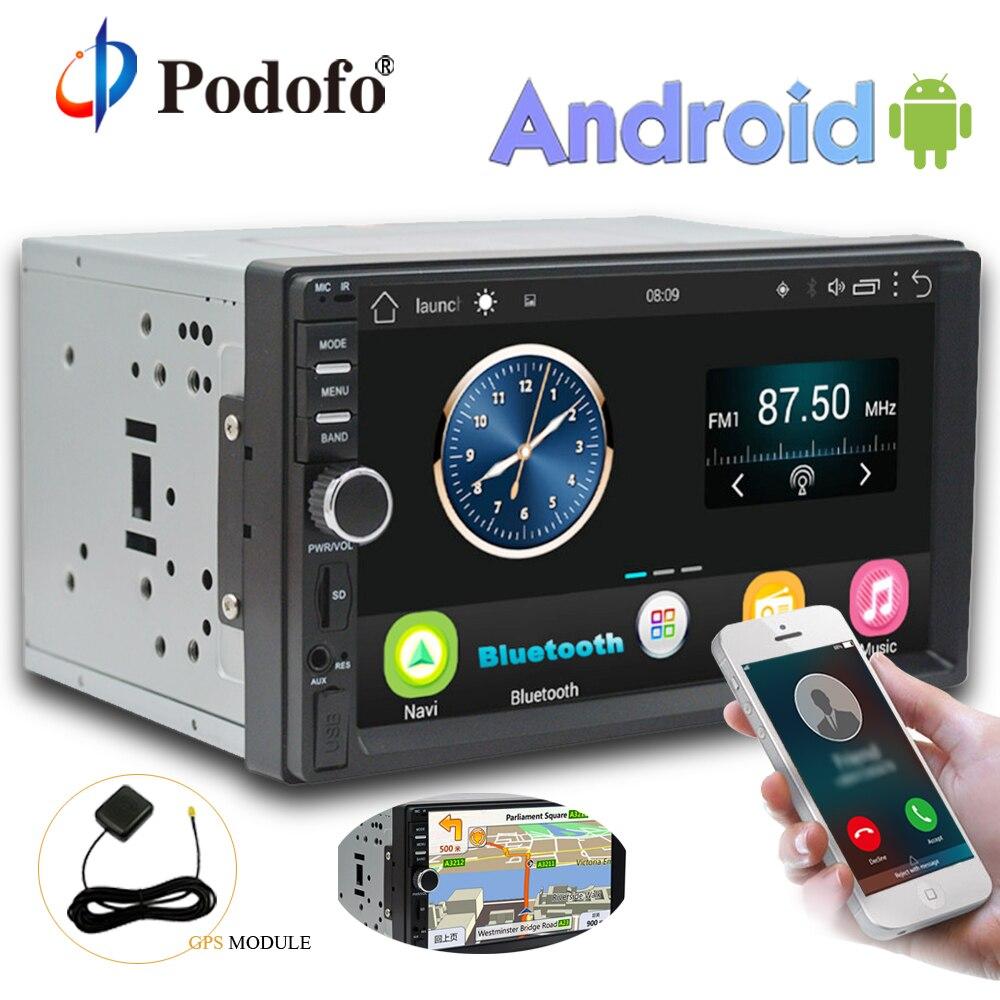 Podofo 2 Din android-автомобильный Радио Стерео 7''Touch Экран gps навигации Аудио Media Player Авторадио Wi-Fi Bluetooth FM радио без DVD