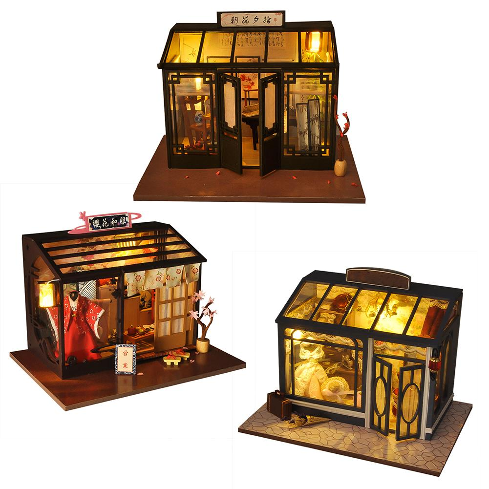 DIY Doll House World Retro Shop Series Wooden Doll Houses Hut Assembly DIY Cottage Innovative Handmade Model House image