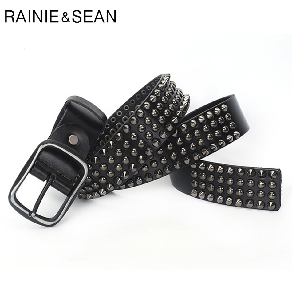 RAINIE SEAN Designer Brand Belt Men Rivet Real Leather Pin Belt Male Black Rock Genuine Leather Cowhide Luxury Punk Belt Jeans