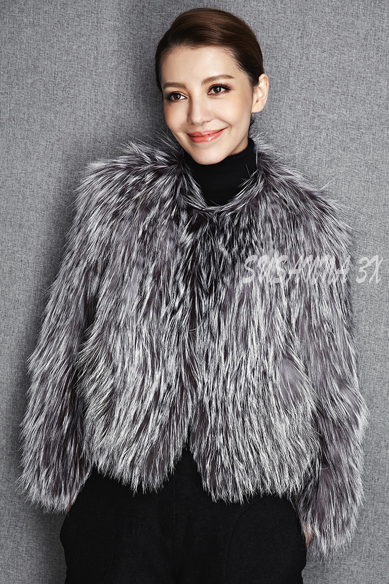 2015 New Arrival 100% Natural Silver Fox Fur Knitted Coat, Women's Real Fox Fur Outerwear SU-1521 EMS Free Shipping 7