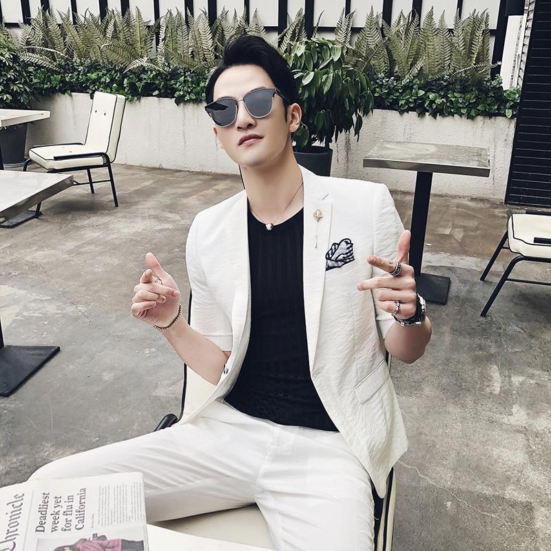 Le rouge Été blanc Manchon Slim Coréenne De Jeunes point Mariage Mince tops Costume Casual Manches Pantalon Section Beau Cinq Dans Noir kaki Hommes 51YPBYnXwq