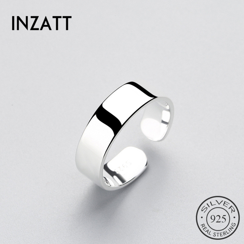 INZATT  Smooth Surface Ring Minimalist Style For Charm Women Party High Quality Real 925 Sterling Silver Fine Jewelry Brincos