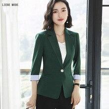 Womens Summer Formal Blazer Office Coat Women Short Sleeve Black White Green Orange Suit Jacket Woman Work Wear Slim Fit Blazer