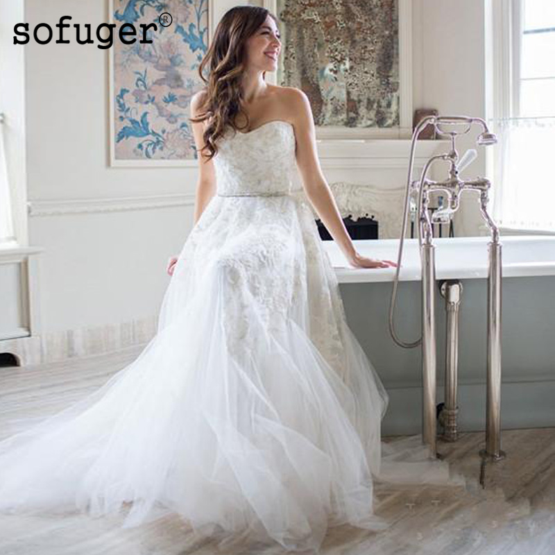 Strapless Sweetheart Tulle Dress Lace Beadings Appliques Sleeveless Vestidos De Noivas Wedding Bridal Dress in Wedding Dresses from Weddings Events
