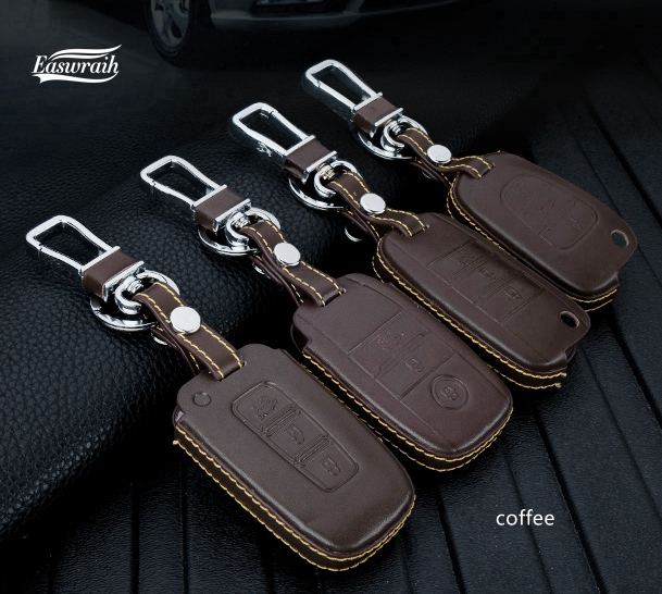Geschenk Echtem Leder Auto Keychain Key-fall-abdeckung Für KIA RIO NIRO K2 K5 Carens KX5 Cerato Seele Forte Sportage Optima Sorento QL