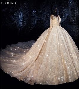 Image 3 - EBDOING Luxurious sequins Ball Gown Wedding Dress O Neckline Vestidos De Novia Plus Size Bride Dress Prom Wedding Gown