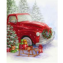 5D DIY Diamond Embroiderey Red Truck Full Square / Round Mosaic Christmas Decoration Home Painting