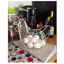 Vintage Wire Metal Egg Basket Country Hen Shape Multi Use Egg Fruit Vegetable Storage Rack Organizer Home Kitchen Gadgets Decor