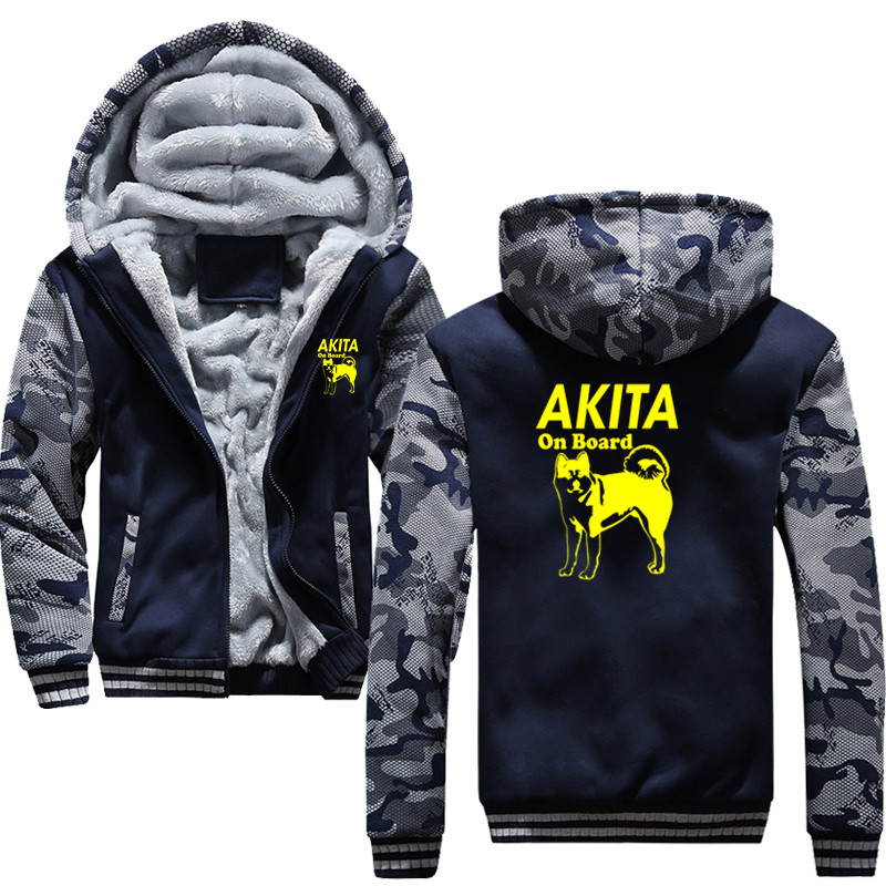 Hot Autumn Winter Drawstring Pocket Hooded Sweatshirt Akita Dog Hoodies Men Casual Hooded Warm Sweatshirts