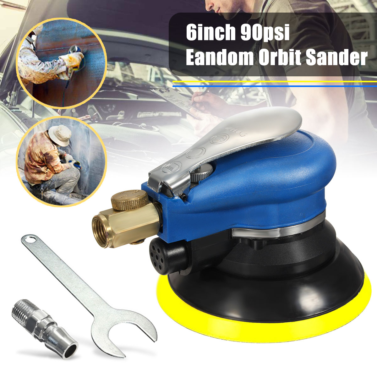 6 Inch 10000rpm Round Air P alm Orbital Sander Random for P alm Sander 150mm Dualable Action Auto Body Orbit DA Sanding