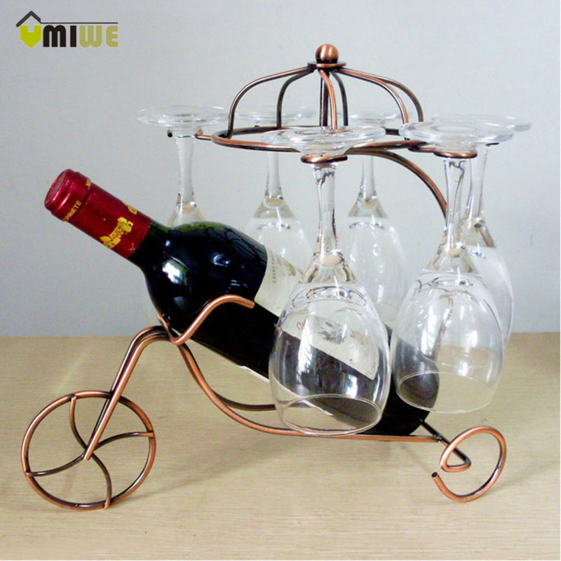 2017 Creative Fashion Metal Wine Rack Red Wine Bottle Glasses Home Bar Wine Holder Hanging Upside