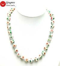 Qingmos белый клойсон Чокеры ожерелье для женщин с 12 мм круглый