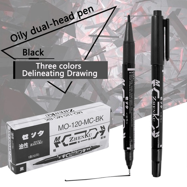 Tattoo Marker Pen Permanent Makeup Eyebrow Microblading Thin Scribe Tool Black/Red/Blue Optional Piercing Marker Position Supply