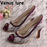 Women Wedding Heels Peep Toe Purple and White Pumps 2018 Prom Shoes