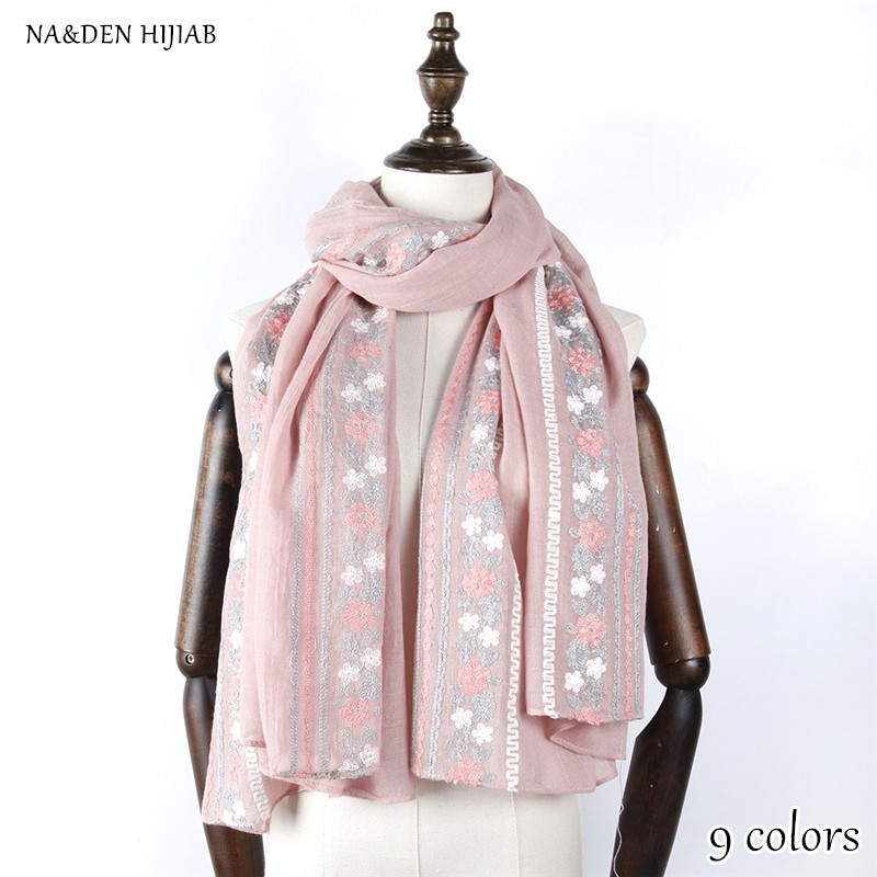 2018 NEW embroider flower scarf fashion hijab luxury women scarves and shawls brand wrap soft muffler embroidery islamic hijabs