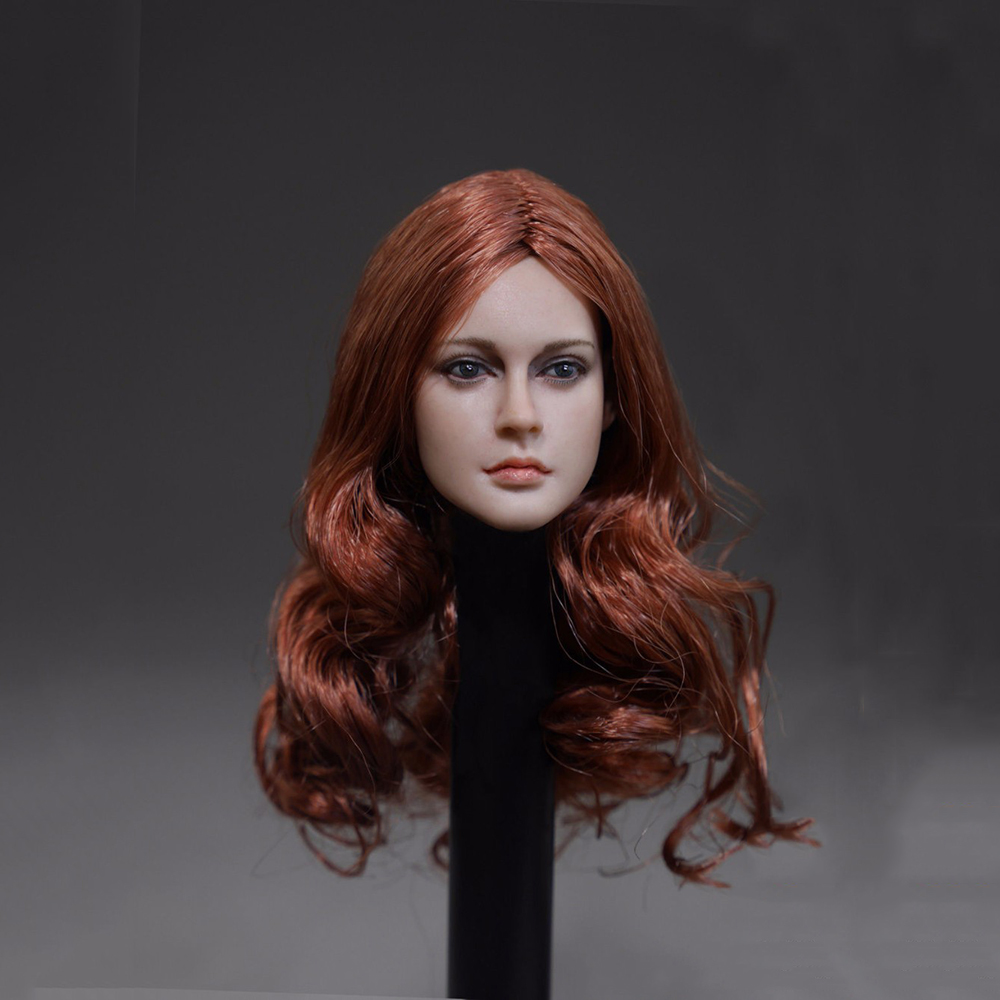1/6 Scale European Red Long Hair Female Head Sculpts For 12 Female Action Figures Bodies Dolls Toys Gifts Collections 12 inches male muscular body figures without neck for 1 6 scale mens head sculpts gifts collections toys