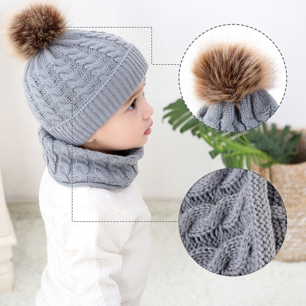 2Pcs Girls Boys Cap+Scarf Set Toddler Baby Winter Warm Fur Ball Hats O Ring Scarves Kids Knitted Beanie Cap+Scarf Keep Warm Set 3