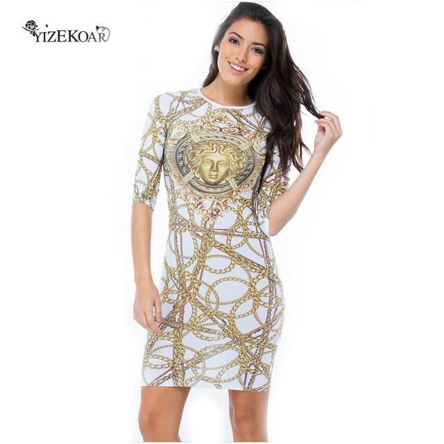 Yizekoar Stylish Trendy Long Sleeve Dresses Gold Chain Brush Aside Rosy Yellow Fireworks