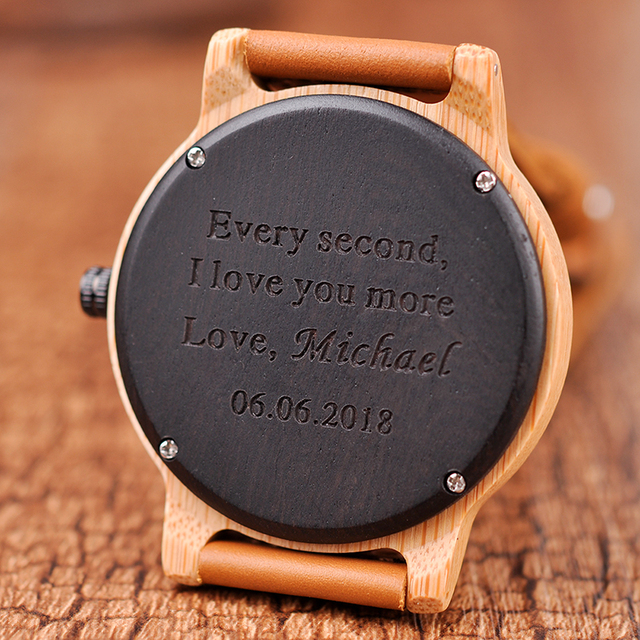 Engraved Watches For Men Women Lovers' Anniversary Engagement Gift Handmade Bamboo Personalized Watch relogio masculino A09A10 2