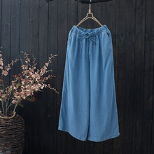1d280103003a0 Spring Summer Women All-match Loose Casual Tencel Cotton Denim Wide Leg  Pants