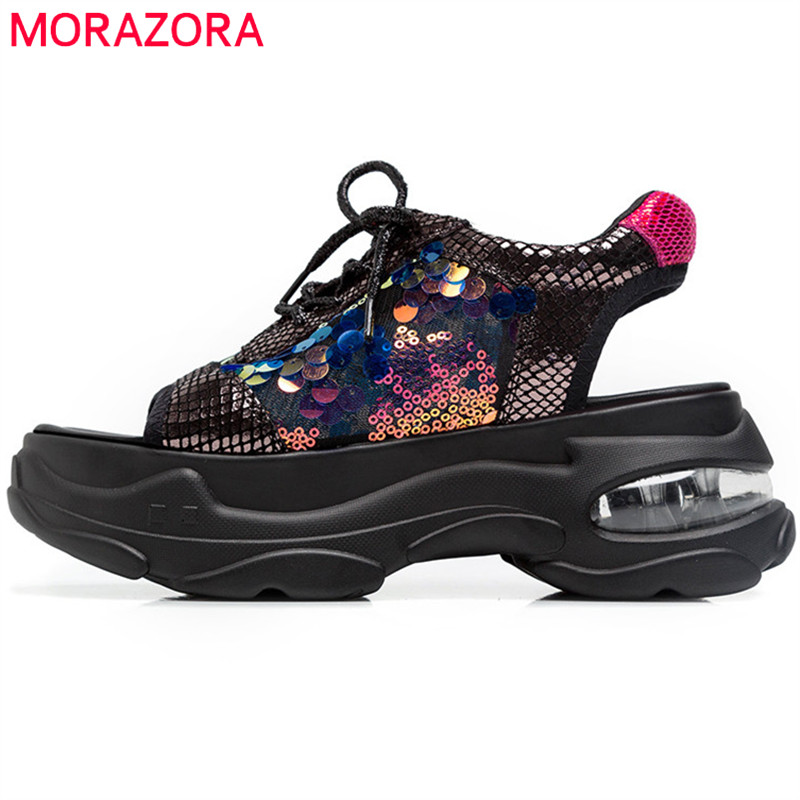 MORAZORA 2019 hot sale women sandals genuine leather sneakers lace up summer flat platform sandals woman casual shoesMORAZORA 2019 hot sale women sandals genuine leather sneakers lace up summer flat platform sandals woman casual shoes