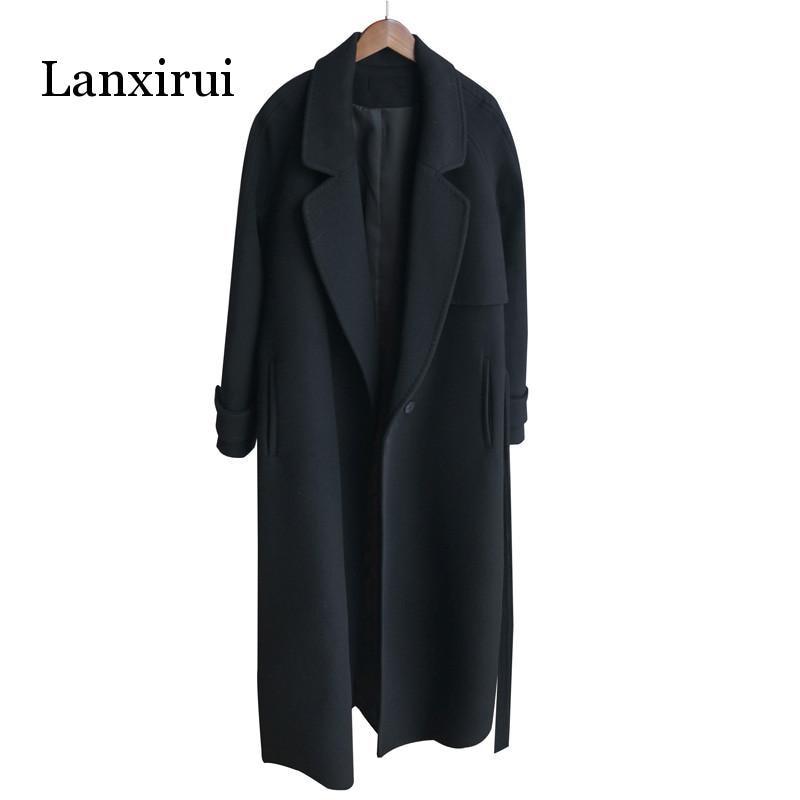 Winter women cashmere wool jacket 2019 new fashion medium long loose woolen coat black slim long-sleeved woolen outerwear