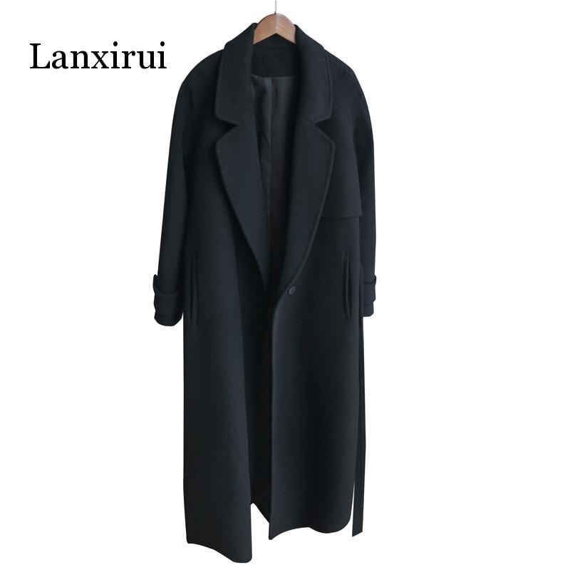 Winter Women Cashmere Wool Jacket  New Fashion Medium Long Loose Woolen Coat Black Slim Long-sleeved Woolen Outerwear