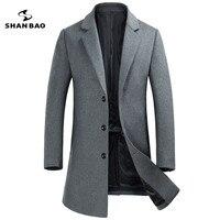 SHANBAO брендовая одежда 2018 осень и зима новый стиль сплошной цвет шерстяное пальто Модные Повседневные однобортный мужской пальто узкого кро