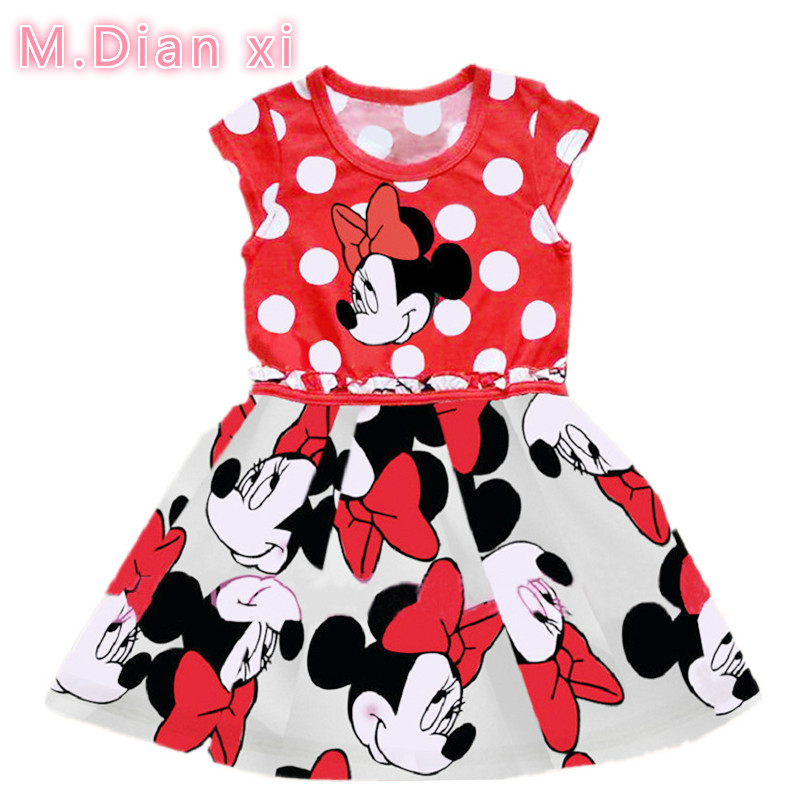 2018 New Summer Cotton Baby Girls Cartoon Long Sleeves Dress Children's Clothing Kids Princess Dresses Casual Clothes 0-2Years