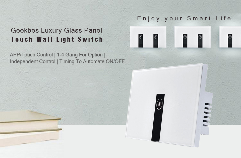 Geekbes EL-US 1 2 3 4 Gang Wifi Touch Smart Light Switch Glass Panel ...