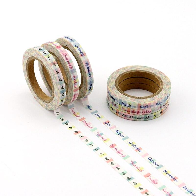 3 Pcs/lot Month Week Digital Planner Handbook Decorative Paper Washi Masking Tape School Supplies Stationery Calendar Stickers