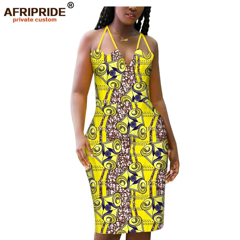 2019 summer african halter bodycon pencil dress for women AFRIPRIDE tailor made knee length women batik