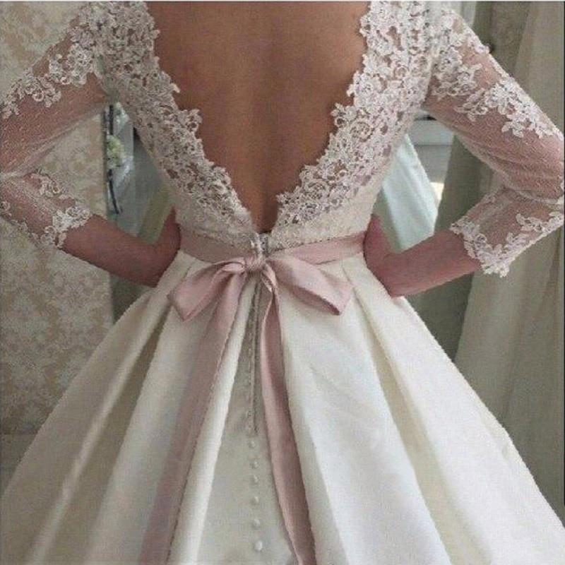 JIERUIZE White Lace Appliques Backless Wedding Dresses 3 4 Sleeves Elegant  Simple Bridal Dresses Open Back Cheap Wedding Gowns -in Wedding Dresses  from ... 3c871a2a807b