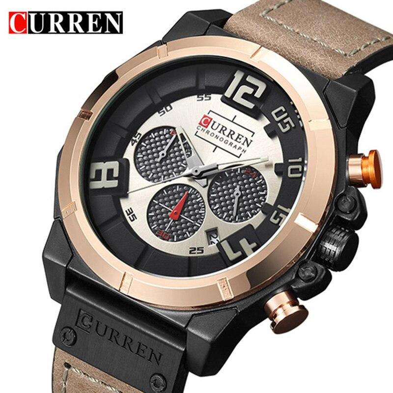 Curren Watches 2017 Men's Brand Luxury Military Quartz Chronograph Watch Waterproof Leather Clock Male Sport Wristwatch Relogio