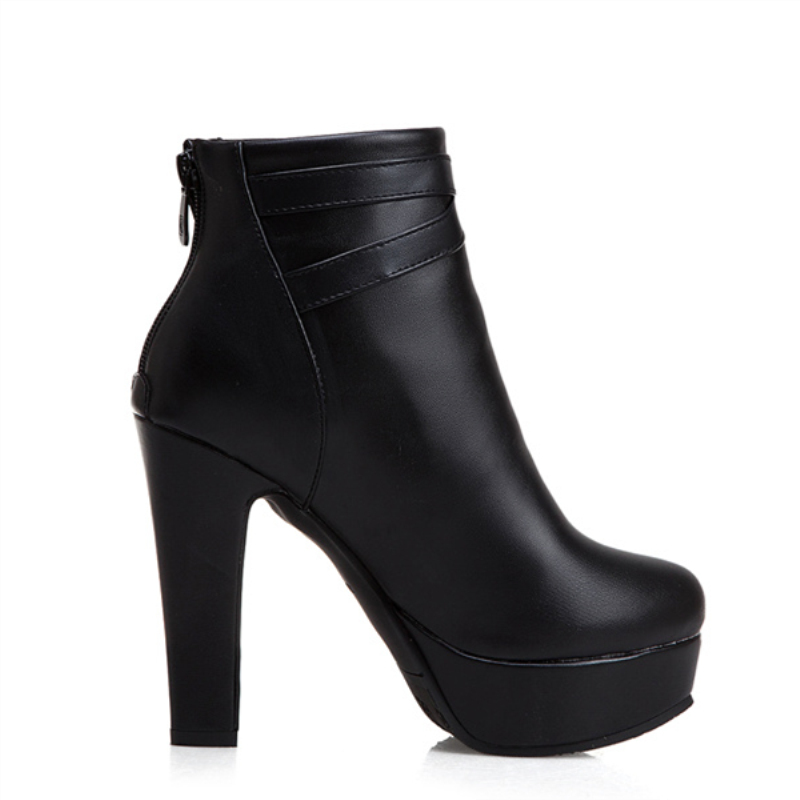 Image 2 - Plus Size 48 New Fashion Women's Boots Sexy High Heels Platform Ankle Boots For Women Black Red Yellow White Heels Shoes Ladies-in Ankle Boots from Shoes