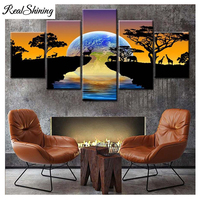 5 pcs Diamond Painting Africa Elephants DIY Diamond Embroidery Sunset landscape 5D Full Square Round Pictures by Numbers FS4871|Diamond Painting Cross Stitch| |  -