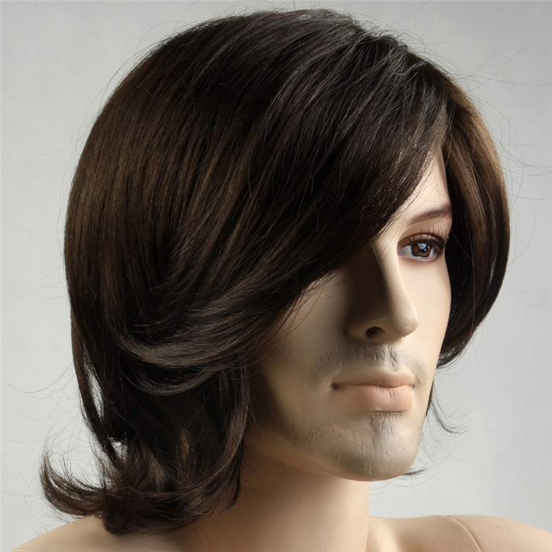 Image 2 - MSIWIGS Short Synthetic Men Wigs Heat Resistant Fiber Brown Color Straight Male Wig with Free Hairnetwig heat resistantwig withewig men -