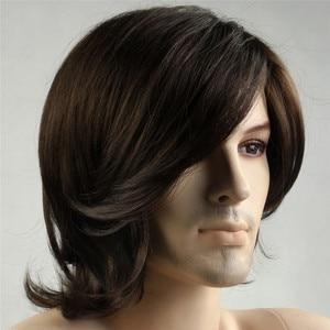 Image 2 - MSIWIGS/короткие синтетические мужские парики, Термостойкое волокно, коричневый цвет, прямой мужской парик с бесплатной сеткой для волос