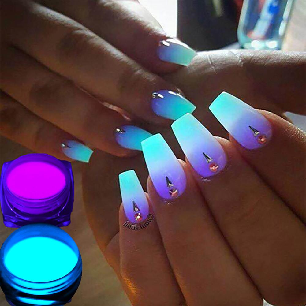 1 Box Neon Phosphor Powder Nail Glitter Powder 10 Colors Dust Luminous Pigment Fluorescent Powder Nail Glitters Glow in the Dark 14