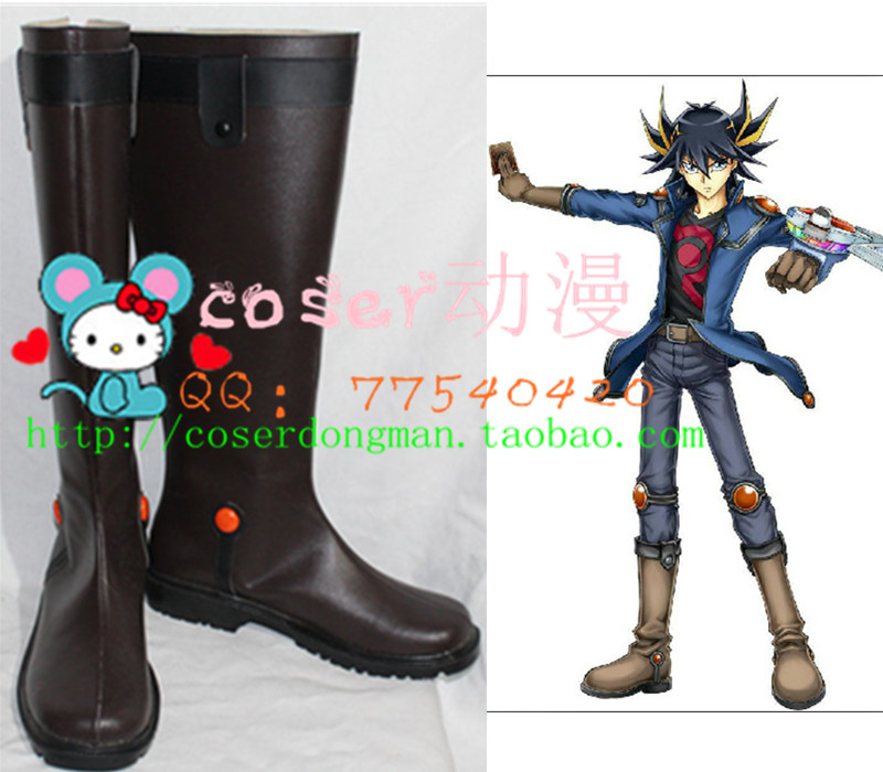Yu-gi-oh Yusei Fudo Game King Cosplay Long Shoes Boots S008 Novelty & Special Use