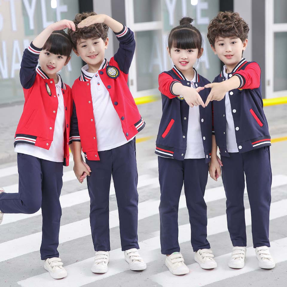 2018 New Girl Boys Clothing Sets Long Sleeve Baby Kids Suits 2 Pcs Fashion Shool Uniforms 2 Colors Sets Children Clothes 2017 new boys clothing set camouflage 3 9t boy sports suits kids clothes suit cotton boys tracksuit teenage costume long sleeve