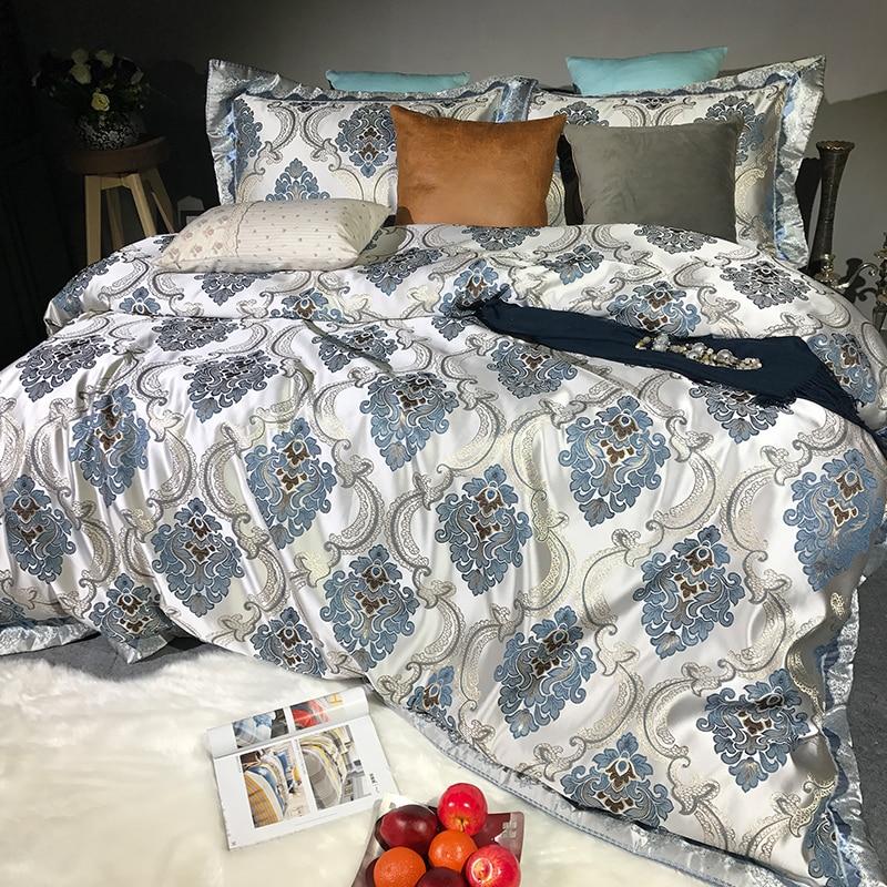Luxury European Style 3D Relief Damask Silk Cotton Jacquard Bedding Set Duvet Cover Bed sheet/Linen Pillowcases Queen King 4pcsLuxury European Style 3D Relief Damask Silk Cotton Jacquard Bedding Set Duvet Cover Bed sheet/Linen Pillowcases Queen King 4pcs