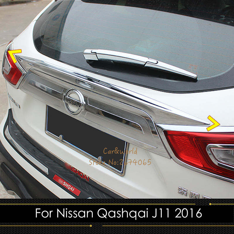 For Nissan Qashqai J11 2015 2016 2017 Chrome Tail Gate Door Strip Trims Rear Trunk Molding Bezel Protector Stickers Car Styling for suzuki sx4 s cross 2013 2014 automobile chrome rear door trunk lid cover trim car styling stickers accessories
