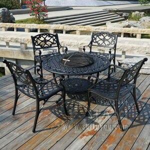 Image 1 - מנגל גן/פטיו שולחן 4 כיסא סט, יצוק אלומיניום סיים בשחור