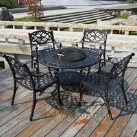 Mobilya'ten Bahçe Setleri'de BARBEKÜ Bahçe/veranda masası ve 4 Sandalye Seti  Alüminyum Döküm bitmiş Siyah