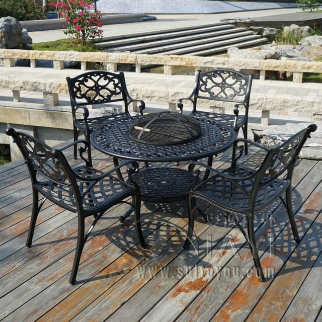 BBQ Garden/Patio Table and 4 Chair Set Cast Aluminium finished in Black & BBQ Garden/Patio Table and 4 Chair Set Cast Aluminium finished in ...