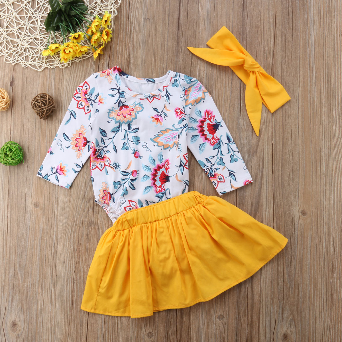 6a23eab1234 Newborn Baby Girl Clothes Set Floral Long Sleeve Romper Tops+Shorts Skirts+Headband  3pcs Outfit Cute Baby Clothing Fashion-in Clothing Sets from Mother ...